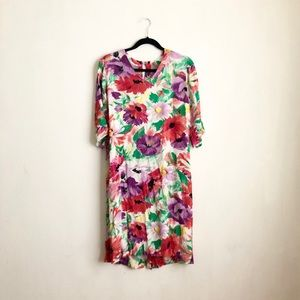 Vintage floral midi dress size medium colorfulfull